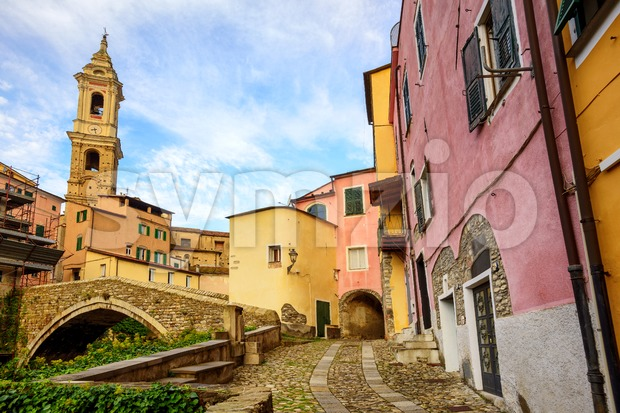 Traditional colorful houses in the historic old town of Dolcedo, Liguria, Italy