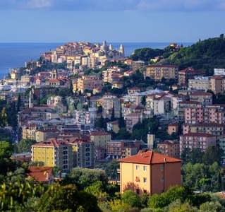 Panoramic view of the old town of Imperia on italian Riviera, Liguria, Italy Stock Photo