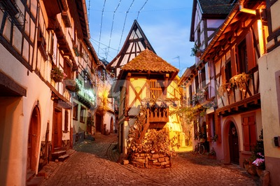 Traditional half timbered houses in Eguisheim by Colmar, Alsace, France Stock Photo