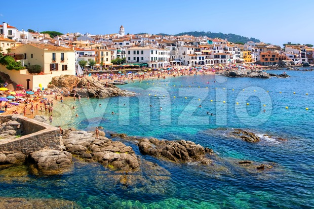 Rocky beach in Calella de Palafrugell, a popular resort town on Costa Brava, Catalonia, Spain Stock Photo