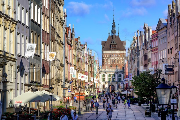 Crowded pedestrian street in Gdansk, Poland, on a summer evening Stock Photo