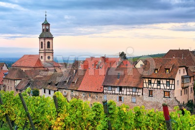 Riquewihr, Alsace, France on sunset Stock Photo