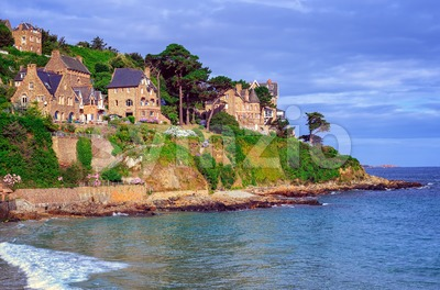 Traditional breton stone houses, Brittany, France Stock Photo