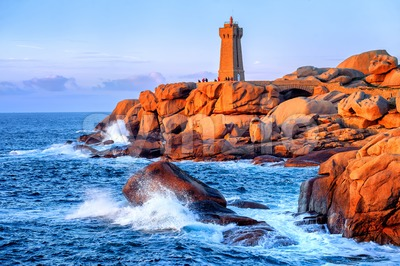 Lighthouse of Ploumanach on Cote de Granite Rose, Brittany, France Stock Photo