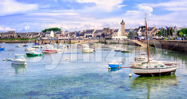 Fisherman's boats in the harbour of Roscoff, Brittany, France Stock Photo