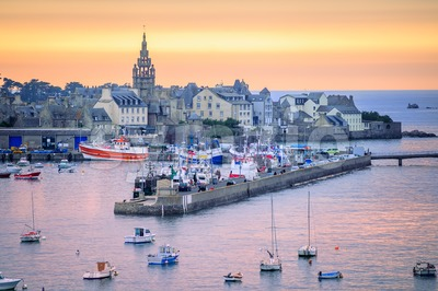 Sunset over the port of Roscoff, Brittany, France Stock Photo