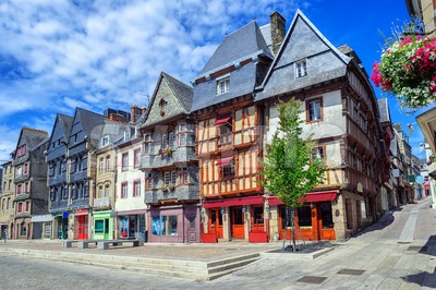 Historical city center of Lannion, Brittany, France Stock Photo