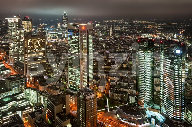 Skyscrapers in financial district of Frankfurt on Main, Germany, at night Stock Photo