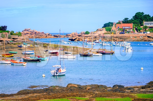 Fishermen's boats on Cote de Granit Rose, Brittany, France Stock Photo