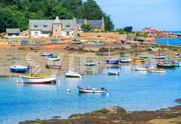 Stone house and fishermen's boat in Brittany, France Stock Photo