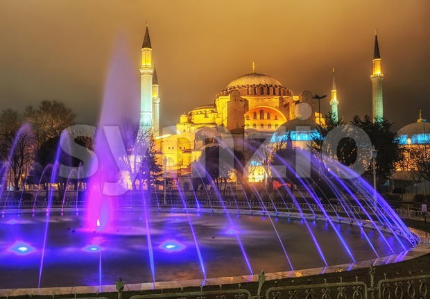 View of Hagia Sophia from Sultanahmet park, Istanbul, Turkey Stock Photo