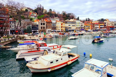 Small colorful harbor in Istanbul city, Turkey Stock Photo