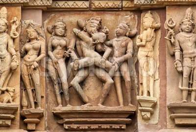 Erotic sculptures in hindu temple in Khajuraho, India Stock Photo