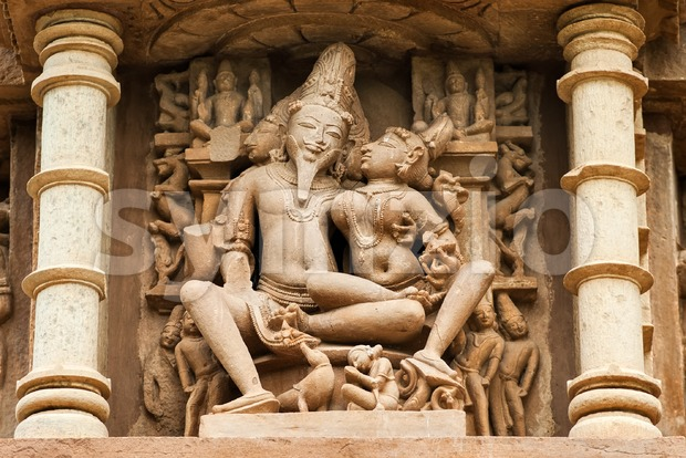 Stone carved erotic sculptures, Khajuraho, India Stock Photo