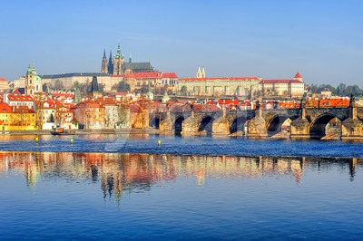 The Prague Castle and Charles Bridge, Prague, Czech Republic Stock Photo
