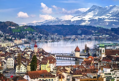 Lucerne, Switzerland, aerial view of the old town, lake and Rigi mountain Stock Photo