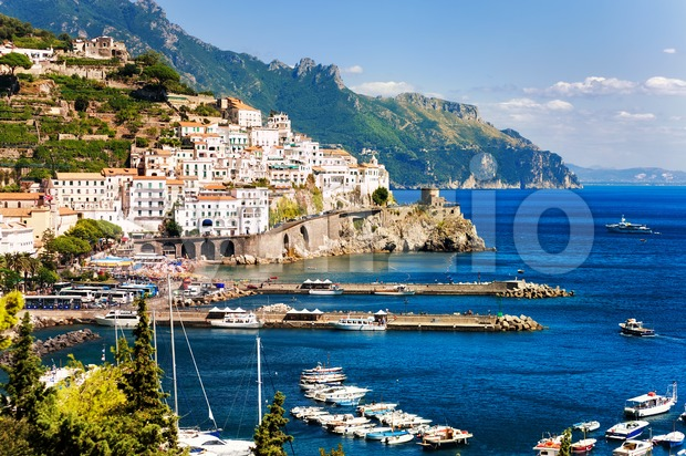 Amalfi town on mediterranean coast by Naples, south Italy