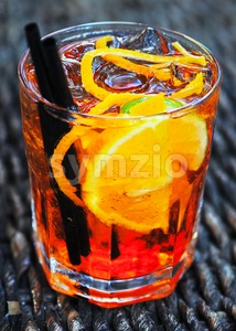 Glass of Aperol long drink Stock Photo