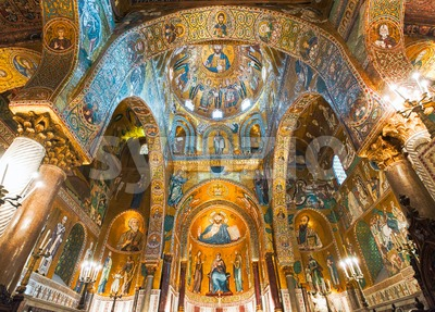 Golden mosaics in La Martorana church, Palermo, Italy Stock Photo