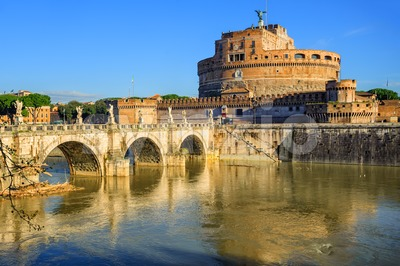 Castel Sant'Angelo reflecting in Tiber river, Rome, Italy Stock Photo