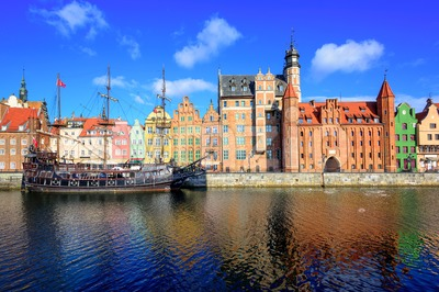 Gdansk Main Town from the river, Poland Stock Photo