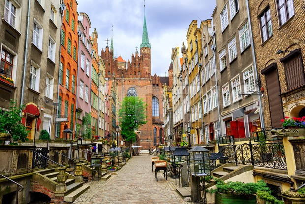 Traditional gothic houses in the old town of Gdansk, Poland Stock Photo
