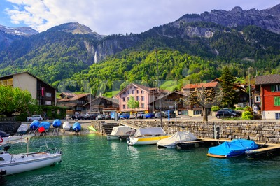 Small swiss town on Lake Interlaken, Switzerland Stock Photo