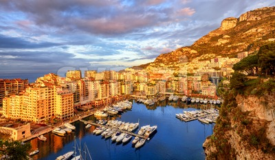 View of the Port Fontvieille on sunrise, Monaco, France Stock Photo