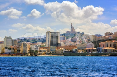 Panoramic view of Marseilles town, France Stock Photo