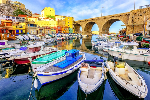 Small fishing port, Marseilles, France Stock Photo