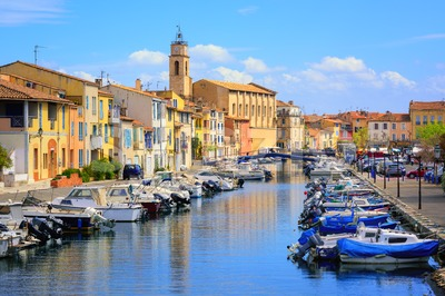 Colorful houses on canal of the old town of Martigues, France Stock Photo
