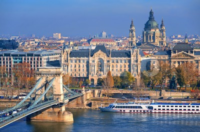 Old town of Budapest on Danube river, Hungary Stock Photo