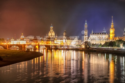 Old town of Dresden on Elbe river at night, Germany Stock Photo