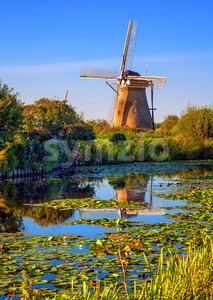Windmill in Holland, Kinderdijk, Netherlands Stock Photo