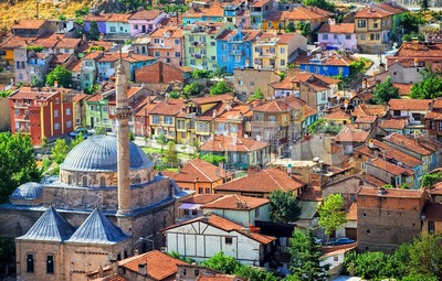 Colorful traditional ottoman houses, Afyon, Turkey Stock Photo