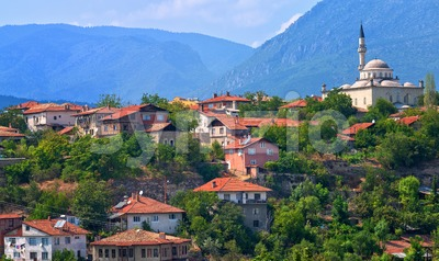 Ottoman houses and white mosque, Safranbolu, Turkey Stock Photo