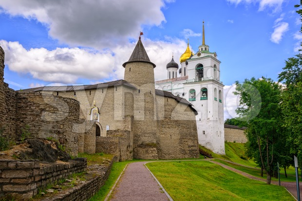 The Pskov Kremlin with Trinity Church, Russia Stock Photo