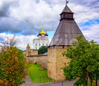 The Watch Tower and Trinity Church in Pskov Kremlin, Russia Stock Photo