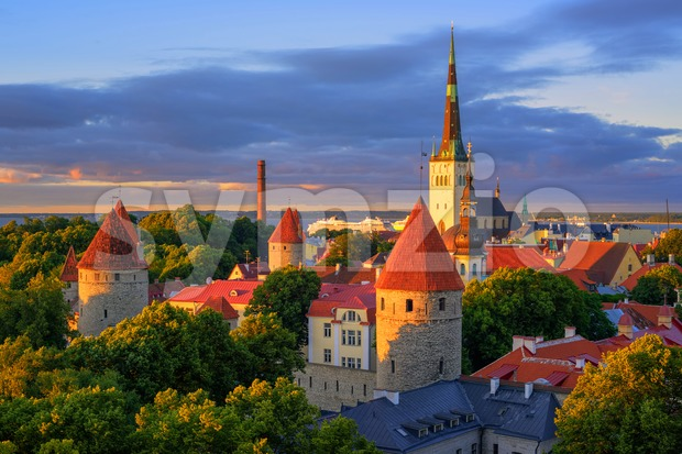 Medieval churches and towers in the old town of Tallinn, Estonia Stock Photo