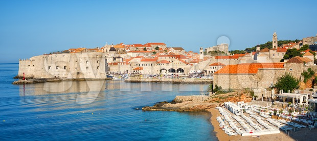 Sand beach in medieval town Dubrovnik, Croatia Stock Photo