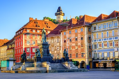 Central square in the Old Town of Graz, Austria Stock Photo