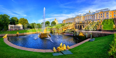 Panoramic view of Peterhof Palace, St Petersburg, Russia Stock Photo