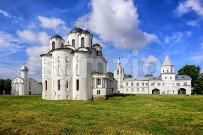 Historical russian orthodox churches in Novgorod, Russia Stock Photo