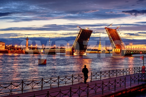 Panoramic view over Neva river in white night time, St Petersburg, Russia Stock Photo