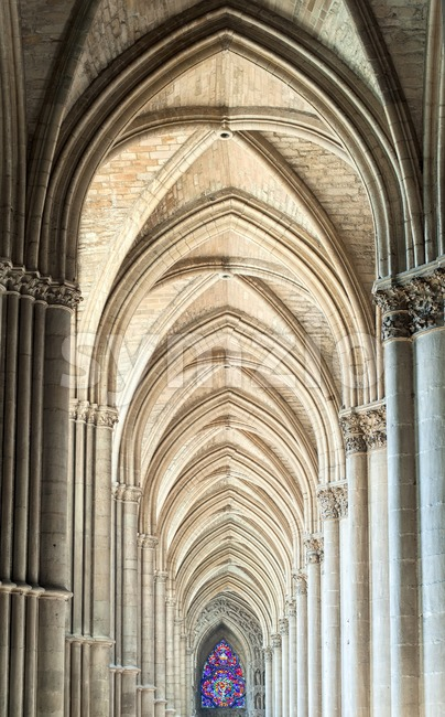 Archway in the gothic cathedral of Reims, France Stock Photo
