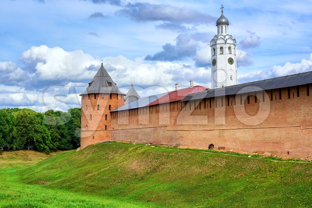 Red walls and white church in Novgorod Kremlin, Russia Stock Photo