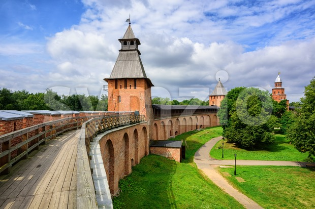 Red brick walls and towers of Novgorod, Russia Stock Photo