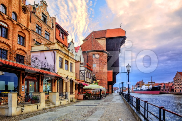 Old town of Gdansk, Poland, on sunrise Stock Photo