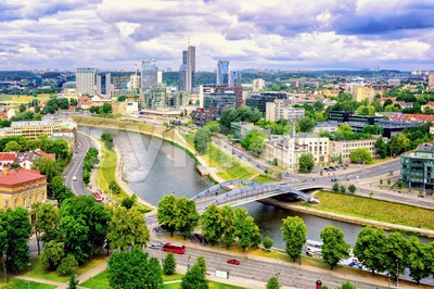 The modern skyline of Financial Centre, Vilnius, Lithuania Stock Photo