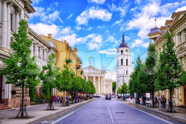 Gediminas Avenue and Cathedral square, Vilnius, Lithuania, Stock Photo